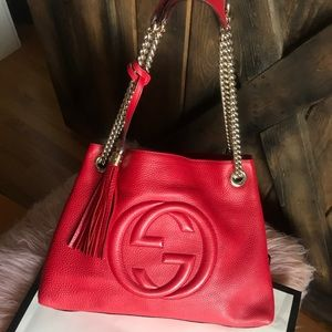 Gucci Bags - Gucci Soho Chain Bag Red leather Crossbody
